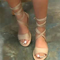 Apricot Sexy Street Hollowed Out Split Joint Opend Out Door Shoes