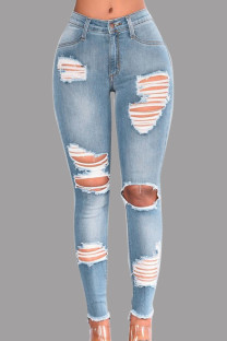 Light Blue Fashion Casual Solid Ripped Mid Waist Skinny Jeans