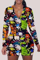 Green Fashion Adult Living Print V Neck Skinny Jumpsuits