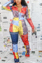 multicolor Fashion Sexy Adult Polyester Print Split Joint Turndown Collar Skinny Jumpsuits
