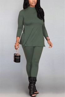 Green Fashion Casual Solid Basic Half A Turtleneck Long Sleeve Two Pieces