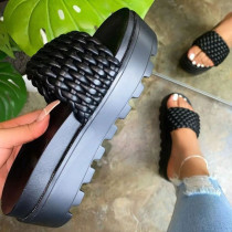 Black Fashion Street Split Joint Opend Out Door Shoes