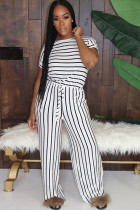 White Polyester Fashion Casual adult Ma'am Striped Print Two Piece Suits Loose Short Sleeve Two Pieces
