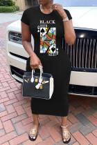 Black Casual Short Sleeves O neck Sheath Knee-Length Print Dresses