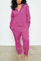 fuchsia Fashion street Solid Cotton Long Sleeve Turndown Collar Jumpsuits