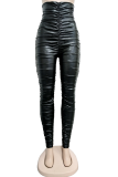 Black Sexy Solid Split Joint Skinny High Waist Pencil Bottoms