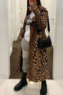 Leopard Print Street Print Leopard Without Belt Turndown Collar Outerwear
