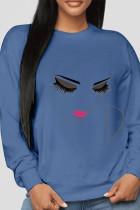 Blue Sportswear Cotton Print O Neck Tops