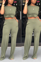 Army Green venetian Casual Solid Loose Short Sleeve Two Pieces