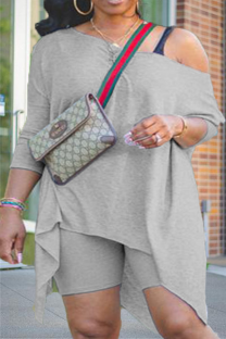 Grey Casual Solid Asymmetrical One Shoulder Plus Size