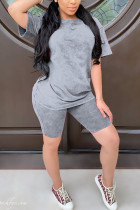 Grey Polyester Fashion Casual Solid Two Piece Suits Straight Short Sleeve Two Pieces