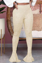 Cream white Fashion Street Adult Polyester Solid Flounce Boot Cut Bottoms