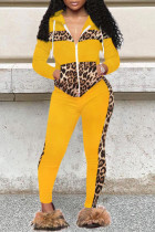 Yellow Fashion Casual Print Split Joint Zipper Collar Long Sleeve Two Pieces