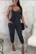 Black Fashion Sexy Print Striped Patchwork Polyester Sleeveless Slip Jumpsuits