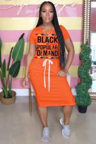 Orange Polyester Fashion adult OL Grey Blue Pink Orange Cap Sleeve Short Sleeves O neck Pencil Dress Knee-Length Print Patchwork Character bandage Dresses