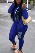 Blue Fashion Casual Adult Polyester Letter Print Letter O Neck Long Sleeve Regular Sleeve Regular Two Pieces