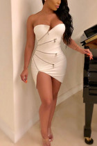 White Polyester Sexy Europe and America Sleeveless Wrapped chest Asymmetrical skirt Solid asymmetrical chain Dresses