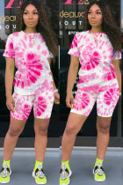 Pink Polyester Fashion Sexy adult Ma'am O Neck Patchwork Print Tie Dye Two Piece Suits Stitching Plus Size