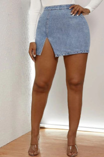Light Blue Denim Button Fly Mid Patchwork Solid pencil shorts Bottoms