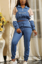 Blue Casual Polyester Patchwork Split Joint Zipper Collar Long Sleeve Regular Sleeve Two Pieces