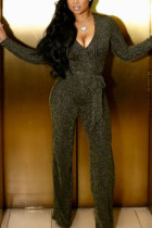 Gold Fashion Casual Polyester Solid Split Joint V Neck Straight Jumpsuits