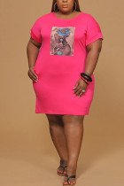 rose red Polyester Fashion Sexy adult Ma'am O Neck Print Pattern Plus Size