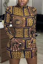 Black Celebrities Print O Neck Pencil Skirt Dresses