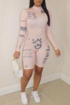 Light Pink Sportswear Print O Neck Skinny Jumpsuits