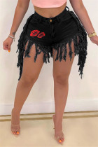 Black Fashion Sexy Print Tassel Mid Waist Straight Jeans