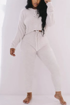 White Casual Living Solid Basic O Neck Long Sleeve Two Pieces