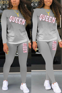 Grey Fashion Casual Gradual Change Letter Print Basic O Neck Long Sleeve Two Pieces