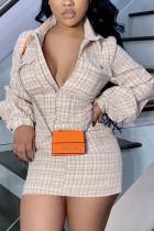 Khaki Sexy Daily Cotton Cotton Blends Plaid Print Frenulum Buttons Basic POLO collar Long Sleeve Mini Pencil Skirt Dresses