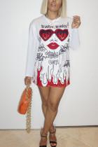 White Sexy Polyester Graffiti O Neck Long Sleeve Long Sleeve Dress Dresses