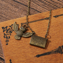 Brown Fashion Patchwork Owl Necklaces