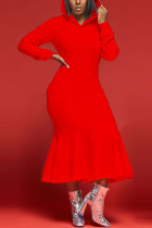 Red Fashion Casual Solid Basic Hooded Collar Long Sleeve Dress Dresses