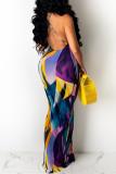 Blue Fashion Sexy Print Backless Spaghetti Strap Sleeveless Dress Dresses