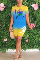 Yellow Polyester Fashion Street Print Two Piece Suits Straight Short Sleeve Two Pieces
