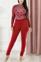 Red Work Daily Print See-through O Neck Regular Jumpsuits