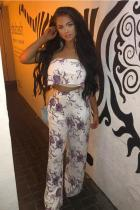 purple Polyester Sexy Fashion Floral crop top Slim fit Print Two Piece Suits asymmetrical Straight Sleevele