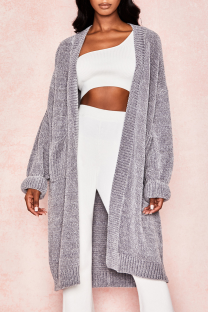 Grey Casual Solid Split Joint Halter Outerwear