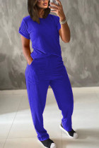 Royal blue Polyester Fashion Casual adult Ma'am Patchwork Solid Two Piece Suits Straight Short Sleeve Two Pieces