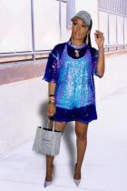 Dark Blue O Neck Half Sleeve lace Sequin Mesh Blouses & Shirts
