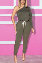 Dark green Fashion Daily Adult Polyester Solid One Shoulder Straight Jumpsuits