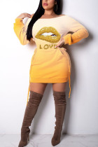 Yellow Polyester Fashion Sexy adult Ma'am Cap Sleeve Long Sleeves O neck Step Skirt skirt Print Dresses