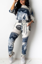 Grey Polyester Fashion adult Ma'am Street Patchwork Print Two Piece Suits Straight Half Sleeve Two Pieces