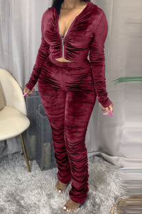 Wine Red Fashion Sexy Adult Pleuche Solid Fold Hooded Collar Long Sleeve Regular Sleeve Regular Two Pieces