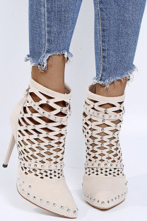 Cream White Fashion Sexy Hollowed Out Pointed Leather Shoes