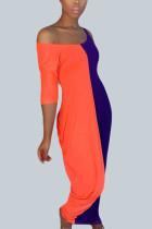 Red Street Polyester Solid Split Joint U Neck Short Sleeve Floor Length Dresses