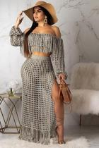 Grey Polyester Sexy Fashion HOLLOWED OUT Two Piece Suits crop top Split Solid tassel asymmetrical Straigh