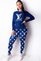 Blue Polyester Casual Print Two Piece Suits pencil Long Sleeve
